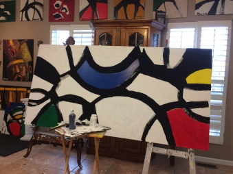 When Circles Intersect, Color No. 1; Wood Panels, sized at 4 1/2 feet x 8 feet; $1,500